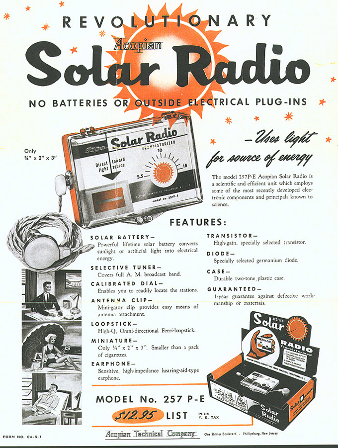 Belyea Company Electric Power Systems Easton Pa: First Solar Radio Sales Bulletin (from 1957)