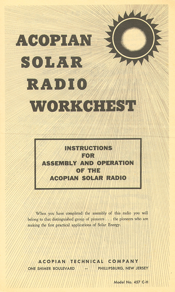Belyea Company Electric Power Systems Easton Pa: Build-your-own Solar Radio (from 1957)
