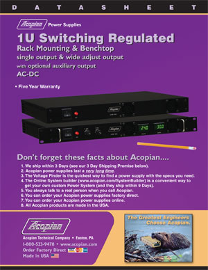 Download Power Supply Datasheets | Acopian Power Supplies