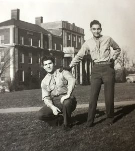 Sarkis Acopian '51 (right) and friend in front of Markle Hall.