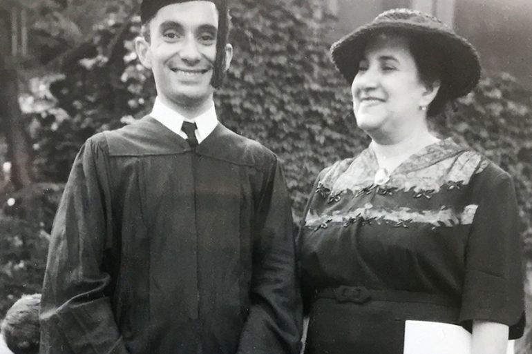 Sarkis Acopian '51  with his mother  at graduation.